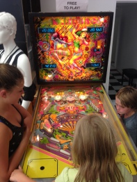 Playing some pinball at Rollergirl in Vancouver after a tournament